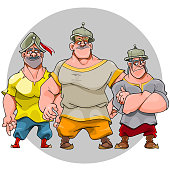 three cartoon funny character men in knightly helmets