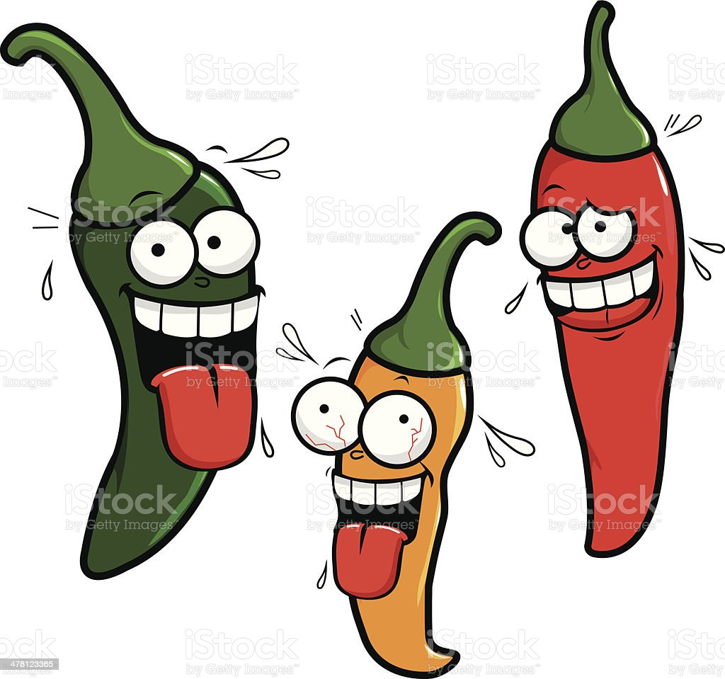 Three cartoon hot chili peppers vector art illustration