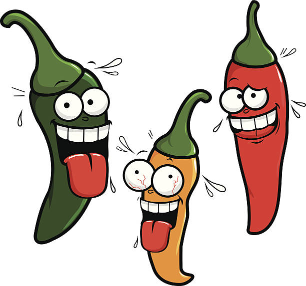 Three cartoon hot chili peppers Three delicious and hot chili pepper characters in different facial expressions.  mexican restaurant stock illustrations