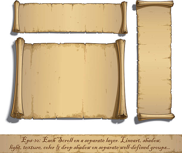Three Cartoon Scrolls Lying Flat Set of three vector Cartoon illustrations of aged blank scrolls. Each Scroll on a separate layer,  Lines, Shadow, Lights, Color & Drop Shadow on separate groups for easy editing. obsolete stock illustrations