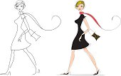 vector art of fashion styled lady, very classy and elegant! Please check same girl w/cell phone and shopping bags.