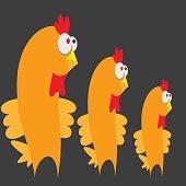 Three chicken on a gray background