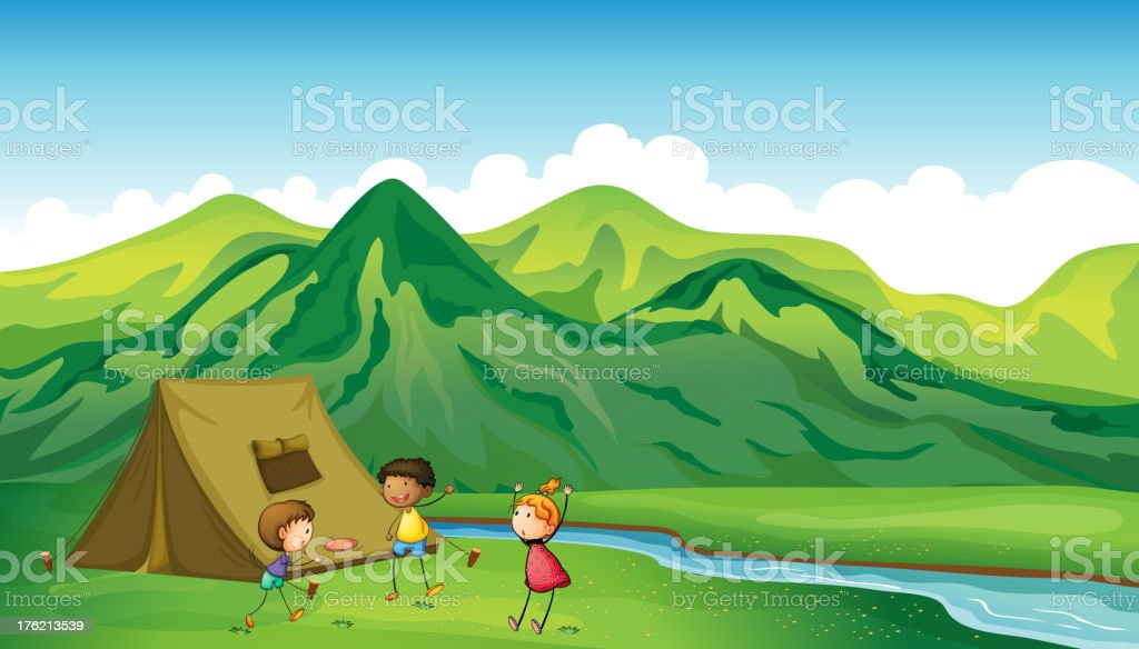 Three children playing royalty-free stock vector art