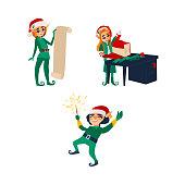 Three Christmas elves, Santa little helpers