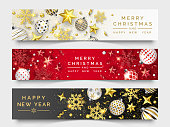 Three Christmas horizontal banners with shining snowflakes, ribons, stars and colorful balls. New year and Christmas vector card illustration on light and dark background