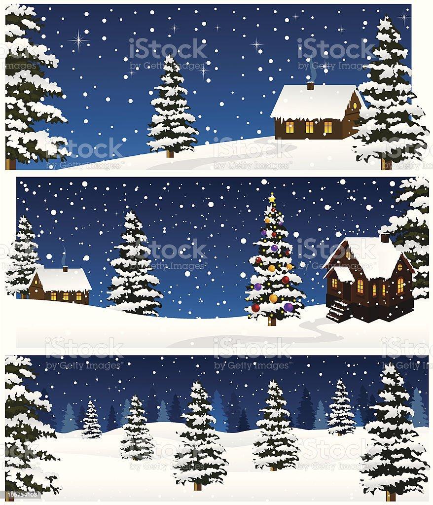 Three Christmas Night Landscape cards royalty-free stock vector art
