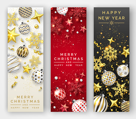 Three Christmas vertical banners with shining snowflakes, ribbons, stars and colorful balls. New year and Christmas card illustration on light and dark background