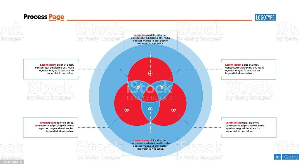 Three Circle Venn Diagram Slide Template Stock Vector Art More