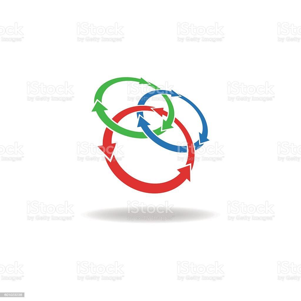 Three circles logo arrows loop, cycle design element, tech symbol Tthree circles arrows loop logo, cycles three elements, nature elements Abstract stock vector