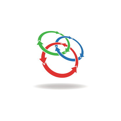 Three Circles Logo Arrows Loop Cycle Design Element Tech Symbol Stock Illustration - Download Image Now