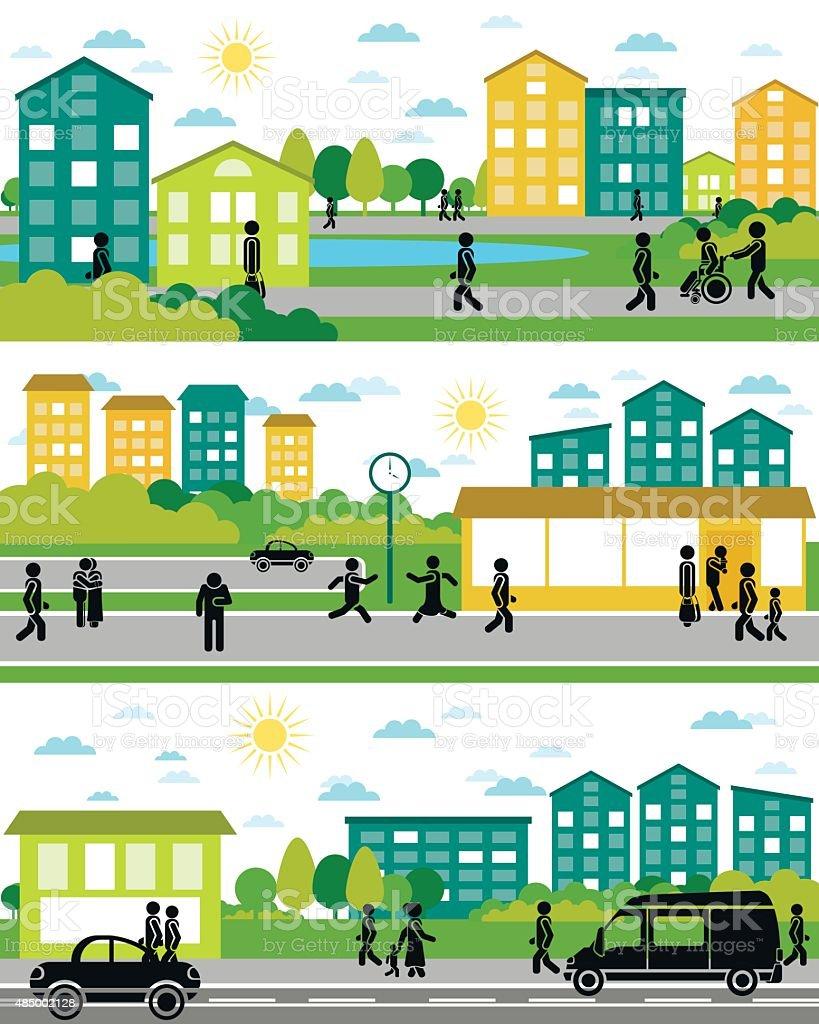 Three city life scenes vector art illustration
