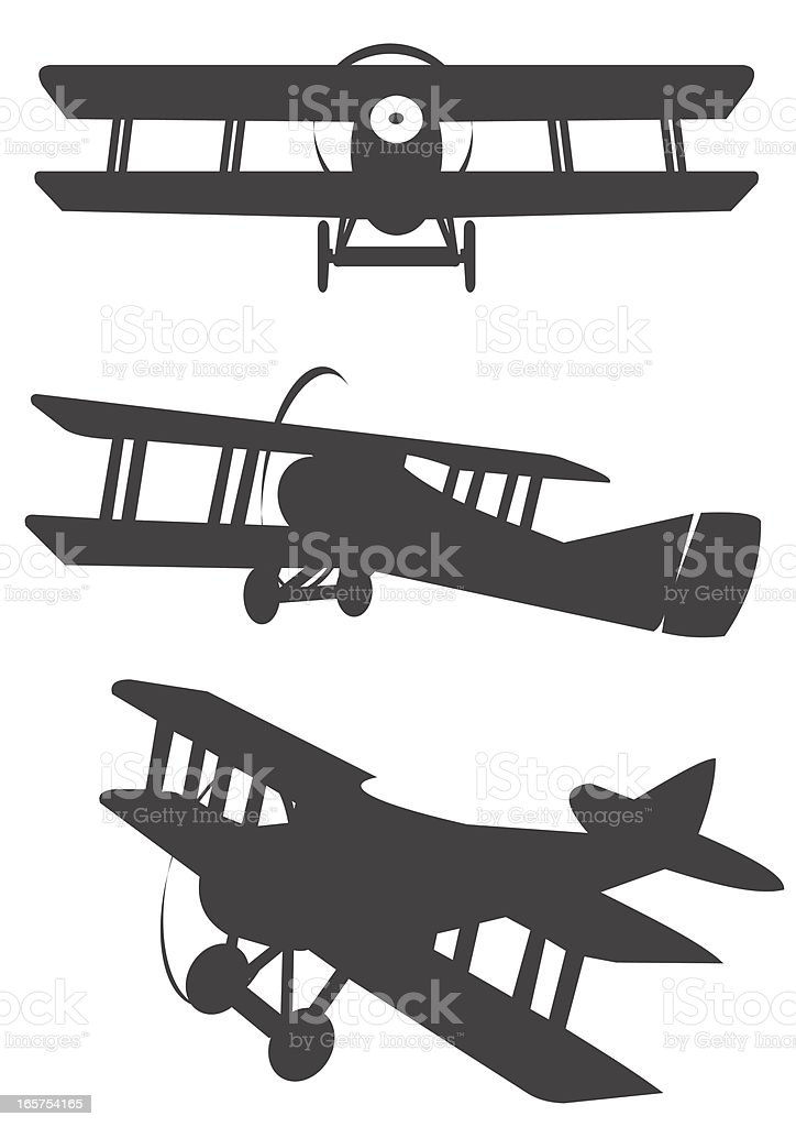 Three classic propeler biplane silhouetes vector art illustration