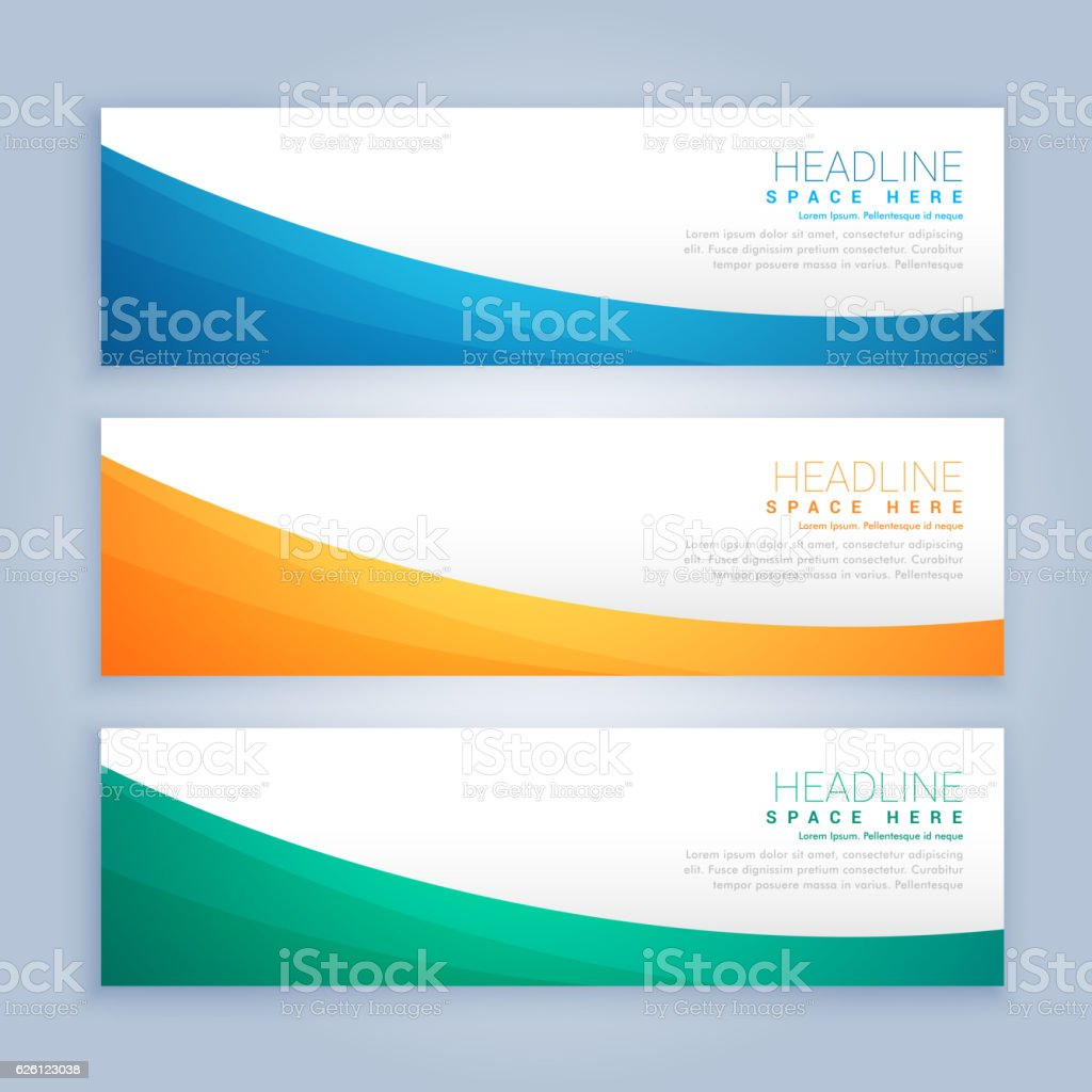 three clean business banners and header set
