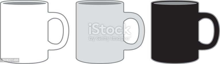 Vector illustration of three coffee mugs. One white, one gray and one black.