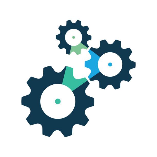 ilustraciones, imágenes clip art, dibujos animados e iconos de stock de tres ruedas de engranajes o icono de engranaje, símbolo. - rueda dentada