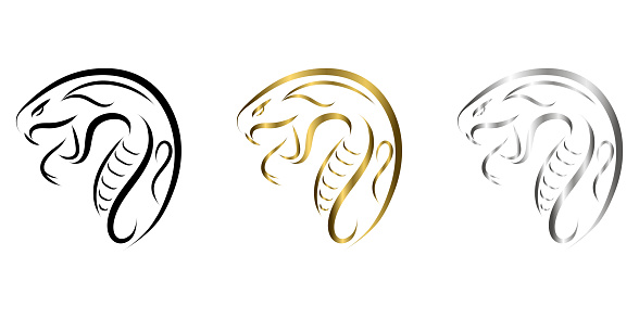 three color black gold and silver line art of snake head. Good use for symbol, mascot, icon, avatar, tattoo, T Shirt design, logo or any design.