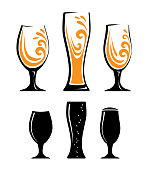Three color different glass of orange juice. Three silhouettes of beer glasses. Vector illustration of glasses of water. Symbol glass flat style.