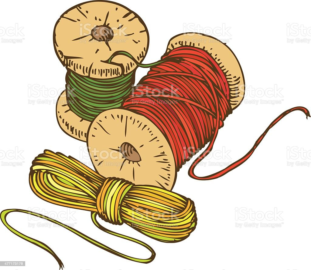 Three Color Spools Of Thread Stock Vector Art & More Images of 2015 ...
