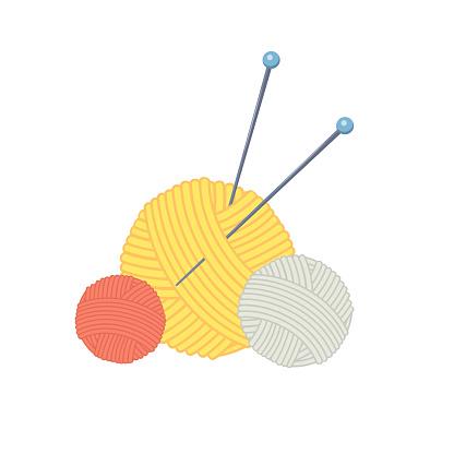 Three colored cartoon balls of yarn with knitting needles.