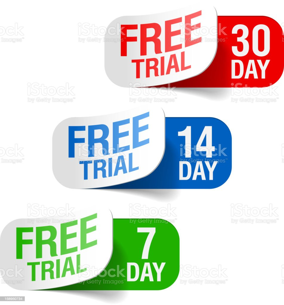Three colored labels for different times of free trials royalty-free stock vector art