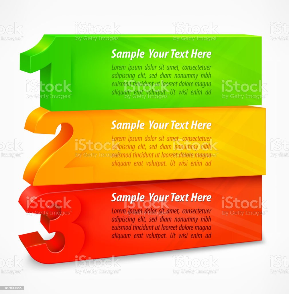 Three colored number banners royalty-free three colored number banners stock vector art & more images of choice