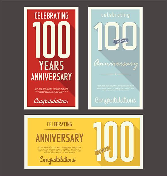bildbanksillustrationer, clip art samt tecknat material och ikoner med three colorful anniversary retro style banners - nummer 100