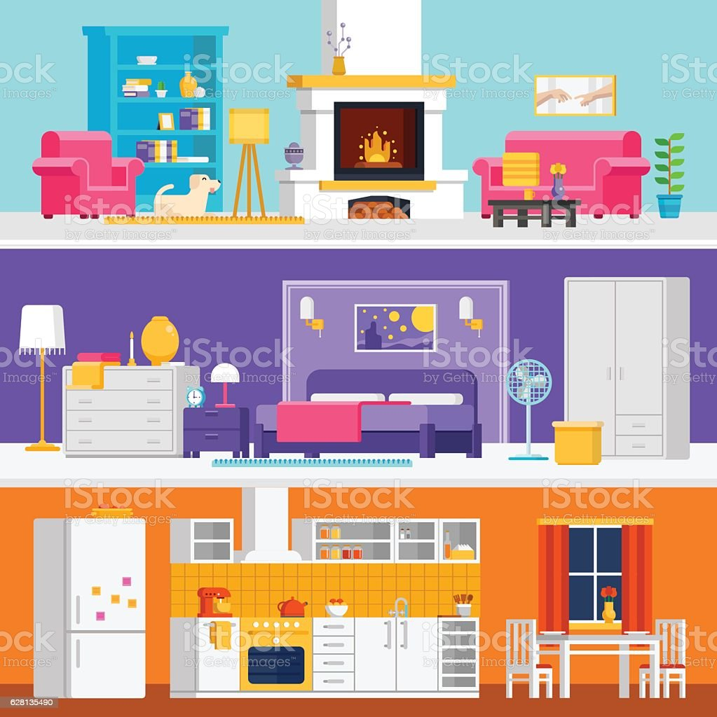 Three colorful flat rooms vector illustrations