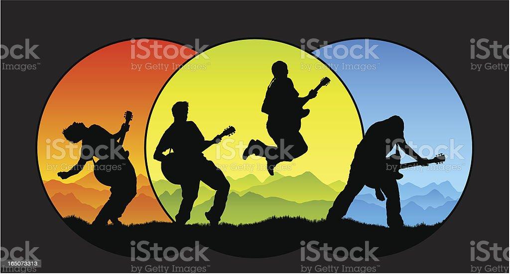 Three colors guitar performance royalty-free stock vector art