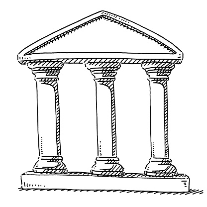 Hand-drawn vector drawing of a Three Columns Stability Symbol. Black-and-White sketch on a transparent background (.eps-file). Included files are EPS (v10) and Hi-Res JPG.
