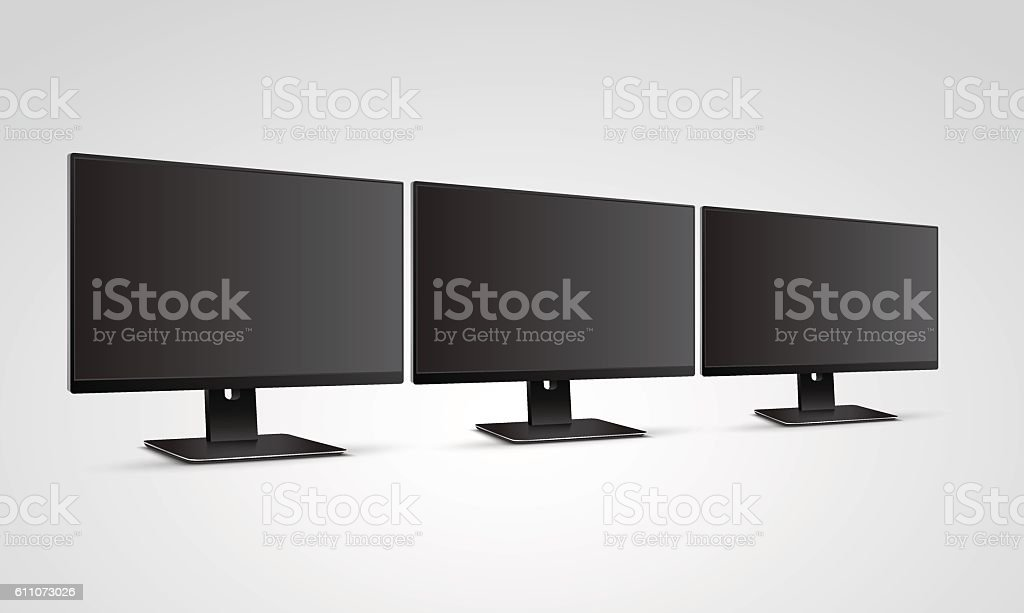 Three Computer Monitors Mockup with blank black screen - Illustration vectorielle