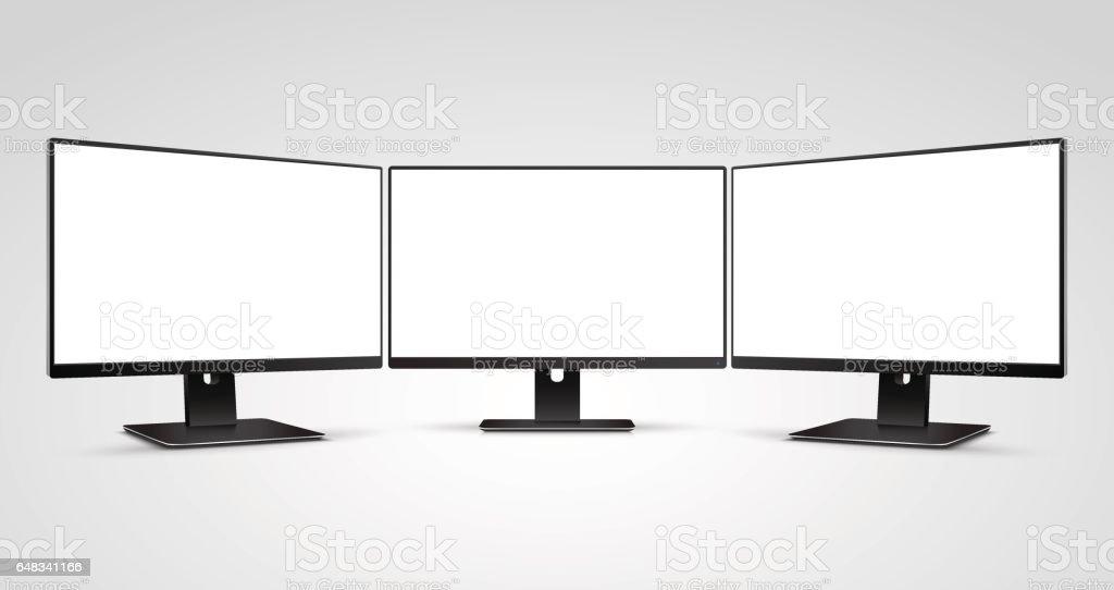 Trois maquette de moniteurs d'ordinateur avec écran blanc blanc - Illustration vectorielle