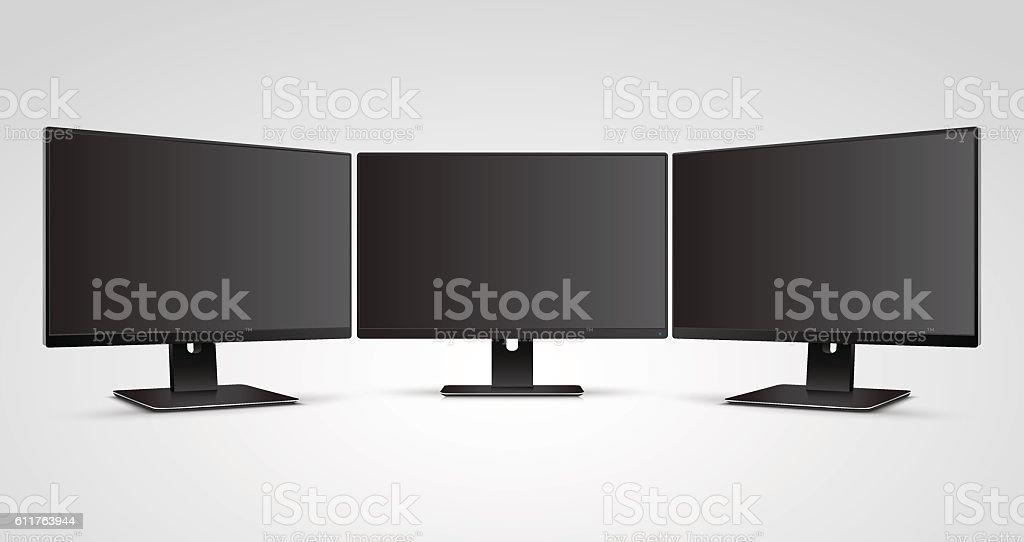 Three Computer Monitors with blank screen Mockup - Illustration vectorielle