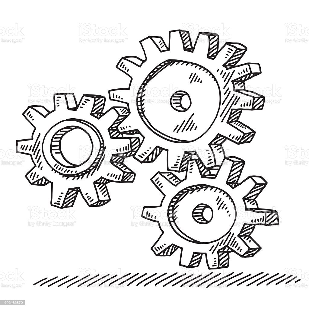 Three Connected Gears Drawing vector art illustration