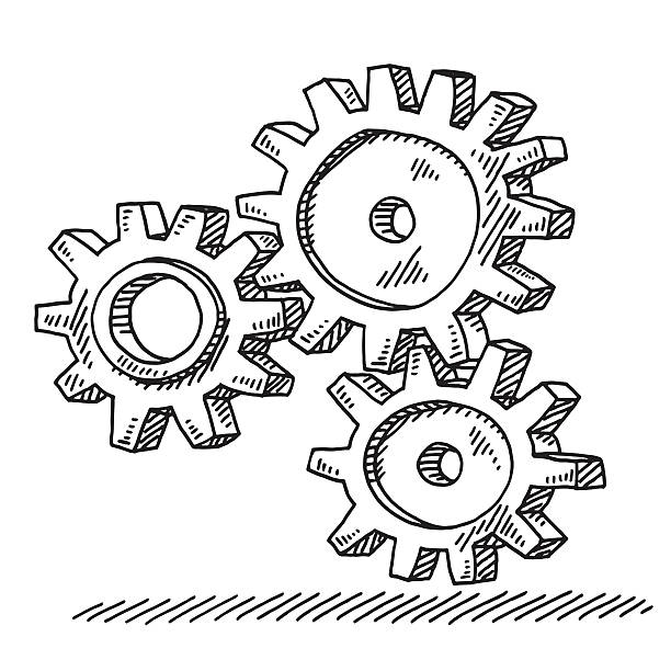 Three Connected Gears Drawing Hand-drawn vector drawing of Three Connected Gears. Black-and-White sketch on a transparent background (.eps-file). Included files are EPS (v10) and Hi-Res JPG. business stock illustrations