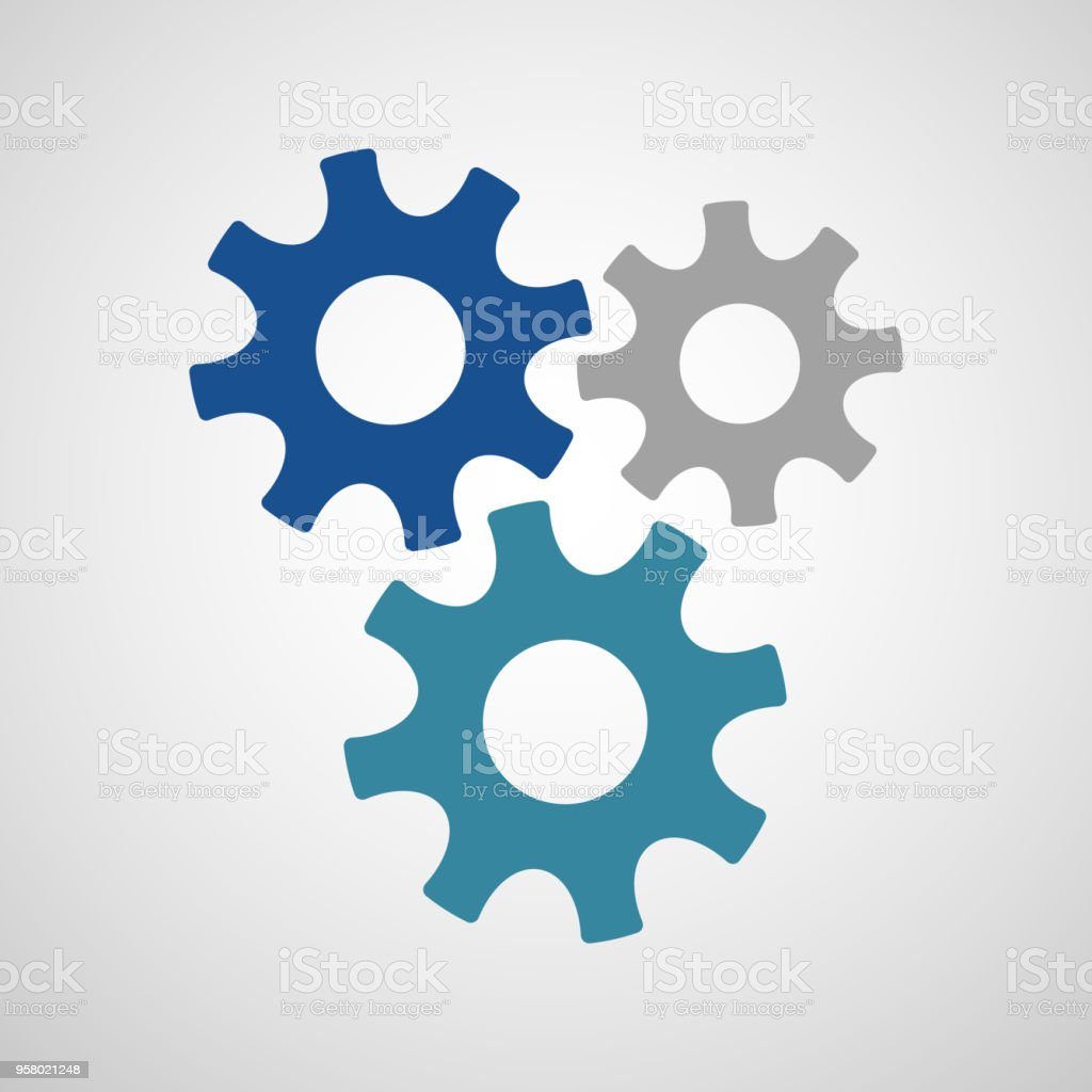 Three connected gears in different colors royalty-free three connected gears in different colors stock illustration - download image now