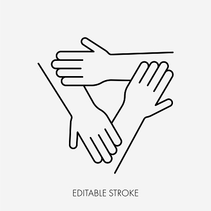 Three connected hands. Editable Stroke