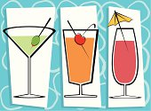 Fully editable vector illustration of three contemporary drinks.