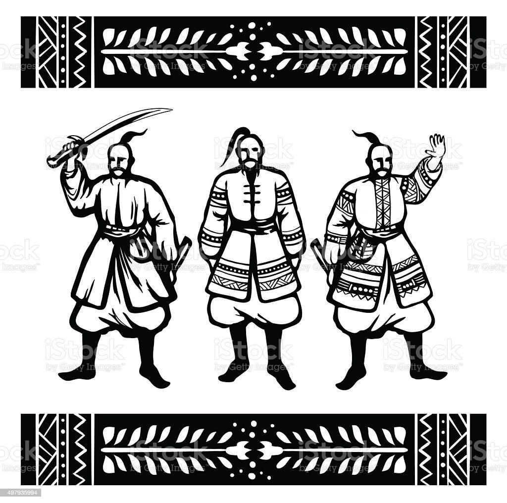 Three Cossack with ethnic ornament vector art illustration