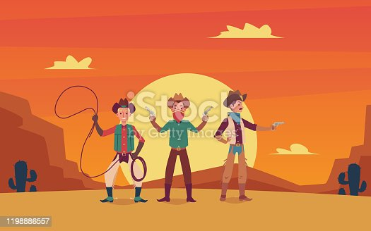 istock Three cowboys cartoon characters on wild west sunset landscape background. 1198886557