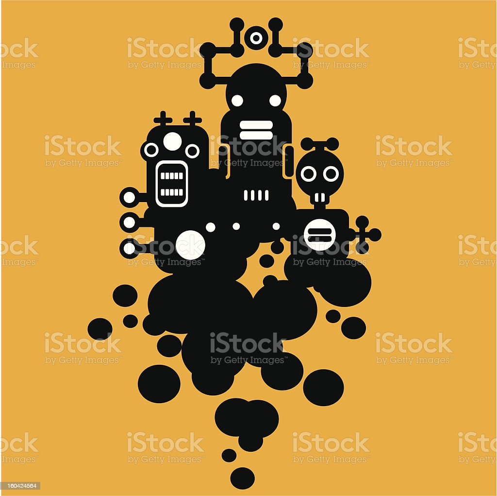 Three crazy monsters #1. royalty-free stock vector art