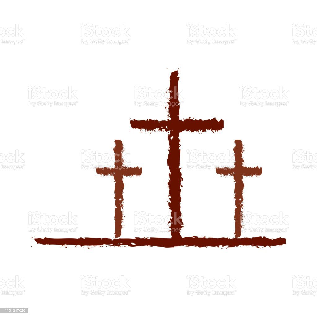 Three cross is depicted on a white background.