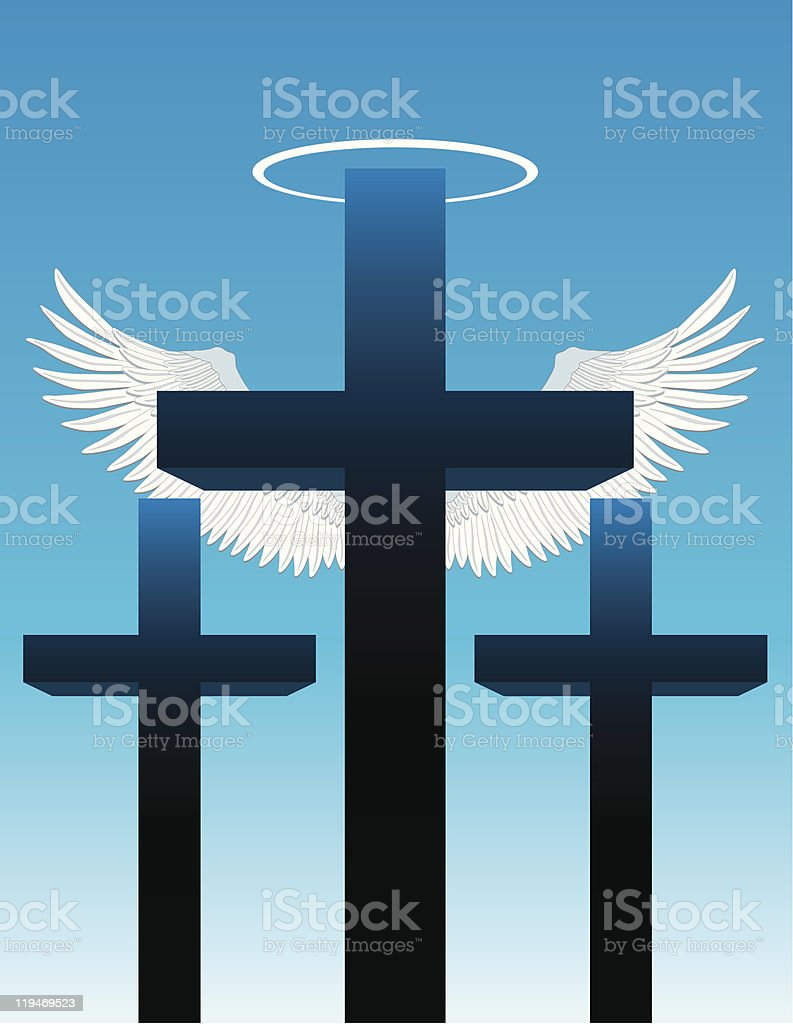 Three Crosses Angel Wings And Halo Stock Vector Art More Images Of