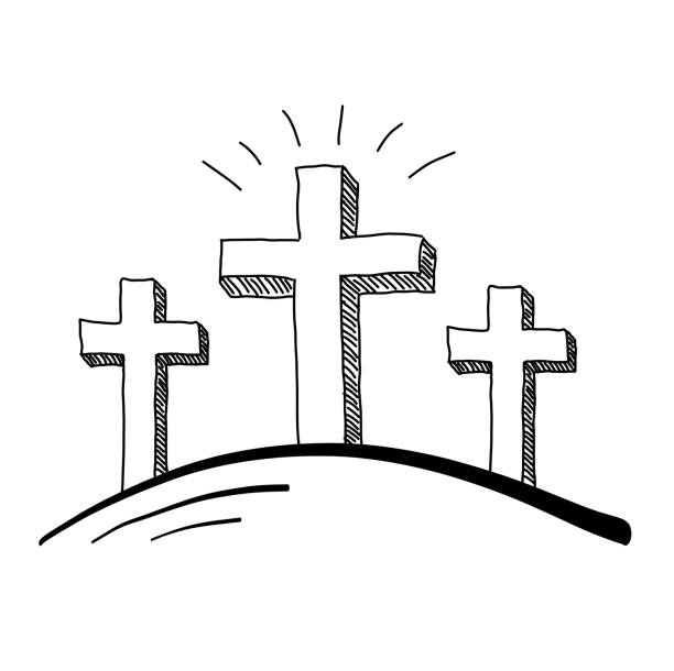 Top 3 Crosses On A Hill Clip Art, Vector Graphics and ...