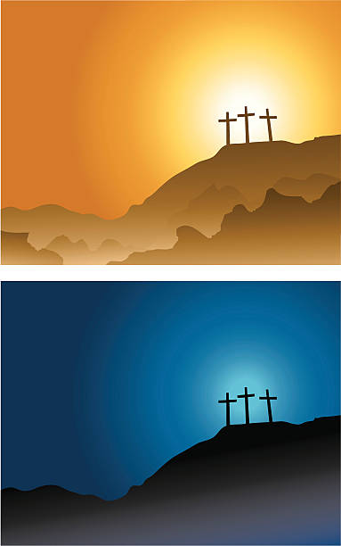 three crosses on the hill... it's the crucifixion of our dear lord...sunset and night time scene. lent stock illustrations