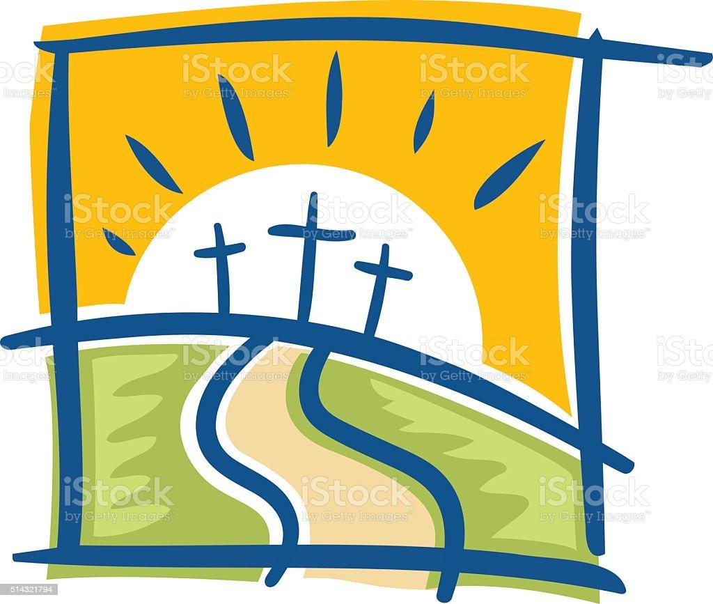 Three Crosses vector art illustration