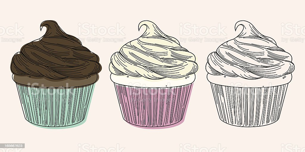 Three Cupcakes - Chocolate, Vanilla, Plain vector art illustration