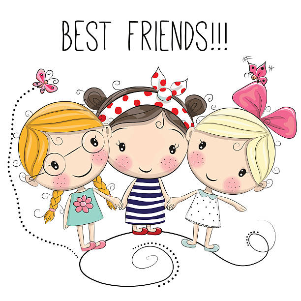 3 Girl Cartoon Characters : Royalty free girl friends clip art vector images