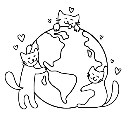 Three cute cats hug the globe. Cats love and take care of the Earth. Save the Planet. Happy Earth Day. Cartoon doodle style. Black outlines isolated on a white background. Vector stock illustration.