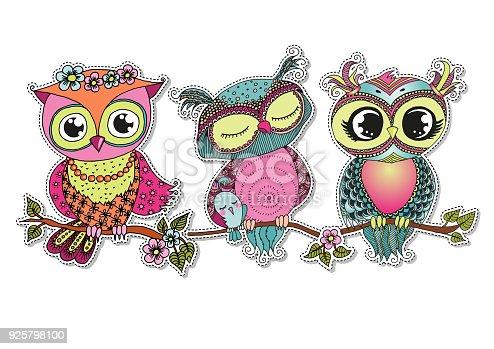 Ilustración De Tres Buhos De Colores De Dibujos Animados Lindo