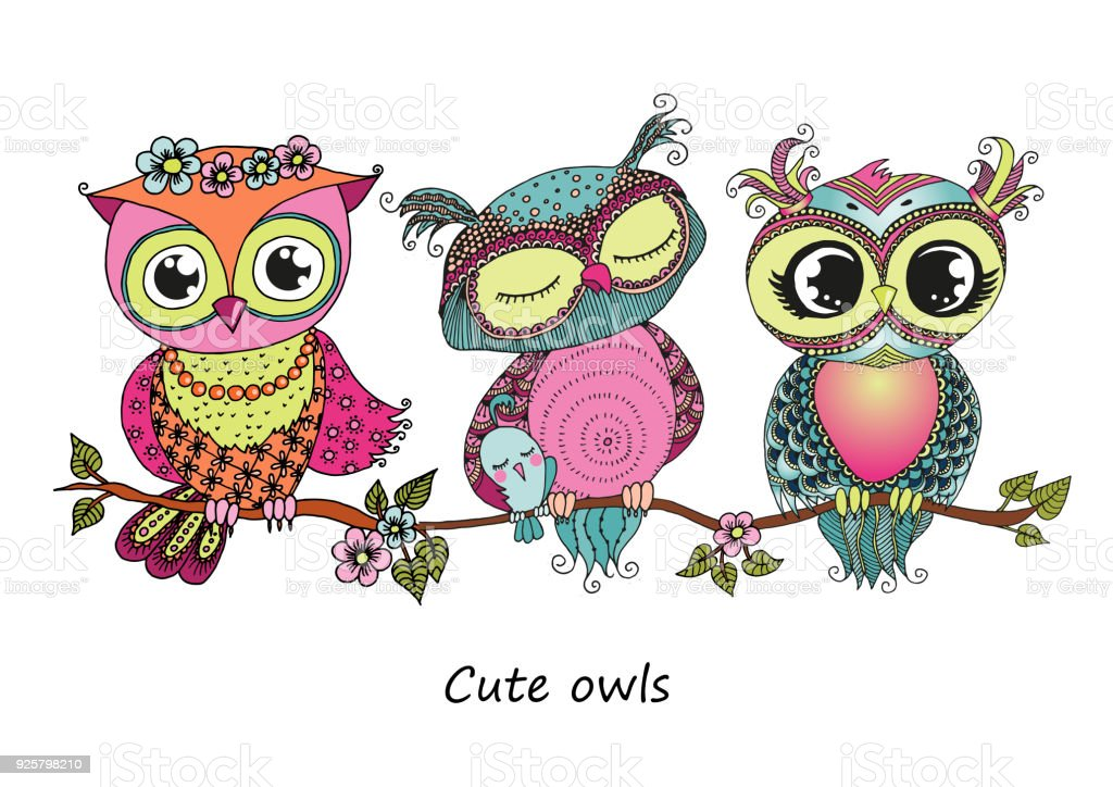 three cute colorful owls sitting on tree branch stock free clipart pictures of owls free clipart images of owls